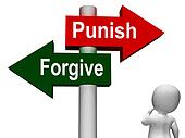 Punish Forgive Signpost Shows Punishment or Forgiveness