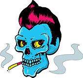 Rock and Roll style skull illustration