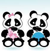 panda boy and girl