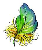 Feather. Watercolor illustration