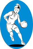 Basketball woman dribbling