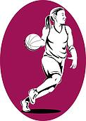 Basketball woman player dribbling