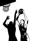 Woman basketball player shooting ball