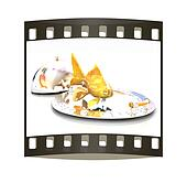 Gold fish on a restaurant cloche. The film strip