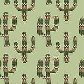 seamless green background with cactus