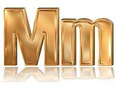 3d golden font, letter M