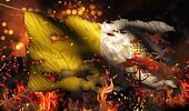 Vatican City Burning Fire Flag War Conflict Night 3D