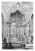 Church of Saint Roch in Lisbon, Portugal, vintage engraving