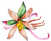 Flower watercolor sketch bouquet