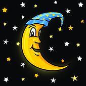 Moon in nightcap with stars