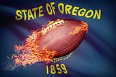 American football ball with flag on backround series - Oregon