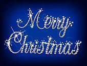 Illustration of Merry Christmas text with diamond