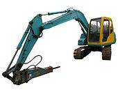 Front view of a blue and yellow digger