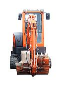 Front view of an orange mechanical digger