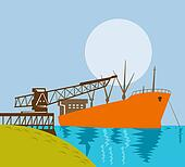 Crane loading ship in water