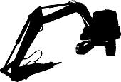 Silhouette front view of a wide digger