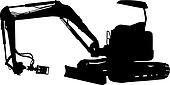 Silhouette of a mechanical digger side view