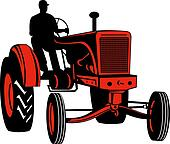 Red vintage tractor with driver front view