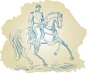 Civil War Union general riding horse