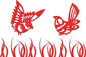singing birds - chinese traditional papercut