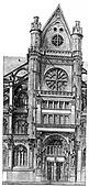 South portal of Saint-Eustache, vintage engraving.