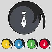Tie sign icon. Business clothes symbol. Set colourful buttons.