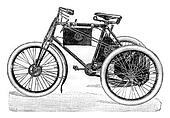 Automotive tricycle, vintage engraving.