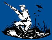Hunter to the side with rifle and goose