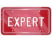 Expert word on red car license plate to illustrate the skills and expertise of an automotive repair professional such as a mechanic, technician or engineer