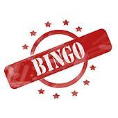 Red Weathered Bingo Stamp Circle and Stars Design