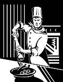 Chef with pepper shaker