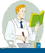 Man cooking while reading