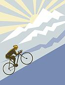 Cyclist riding up the mountain