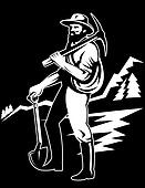 Miner with pick ax
