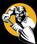Miner shoveling