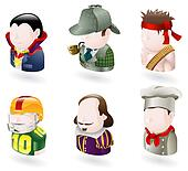 avatar people web icon set