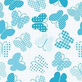 Blue patterned butterflies seamless