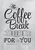 Poster lettering coffee break coal