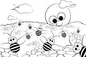 Coloring Page - Landscape with sun and bees - Kid illustr