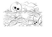 Coloring Page for kids - Good morning with flowers, butterflies and sun