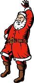 Santa Claus full body woodcut