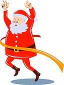 Santa Claus crossing the finish line