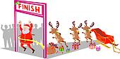 Santa and his reindeers crossing finish line