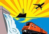 Train, boat, plane and a dam