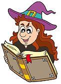 Wizard girl reading magic book