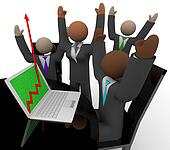 Business Team Cheers Growth Arrow Laptop