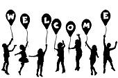 Children silhouettes holding balloons with letters building WELC