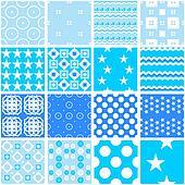 Cute blue seamless patterns. Endless texture