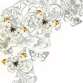 Grunge vector background with  flowers and butterflies  for desi