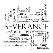 Severance Word Cloud Concept in black and white
